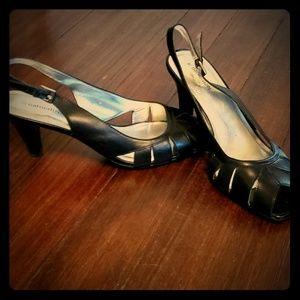 Naturalizer black peep toe black heels